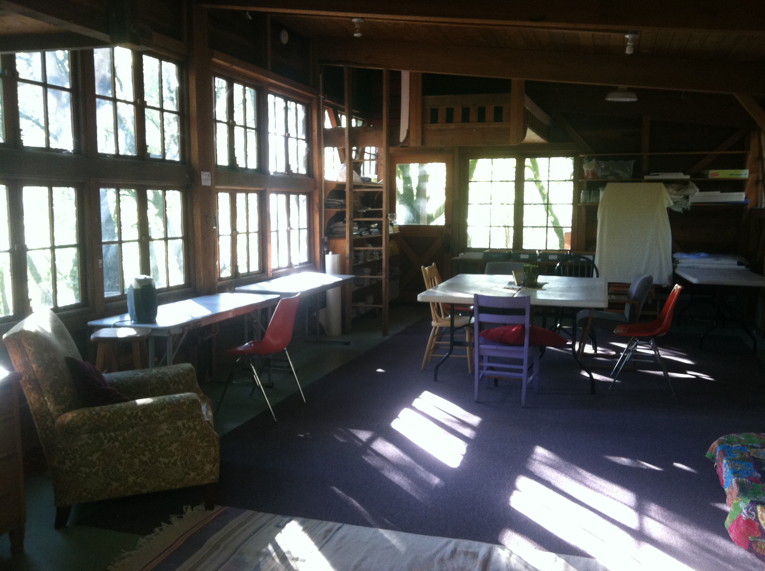 Large windows on all sides bring in plenty of light. There is a sink electricity tables chairs lighting and two small lofts. & Woodshop   Mariposa Institute azcodes.com